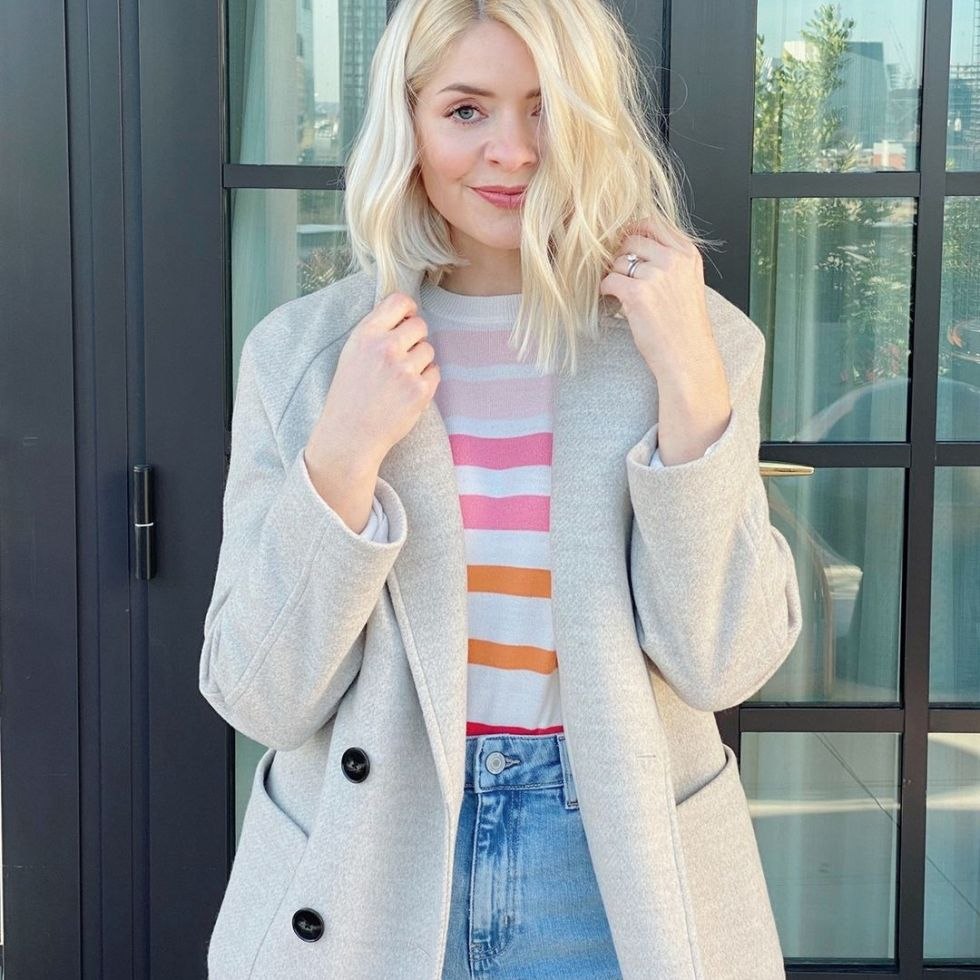 where to get holly willoughby oatmeal coat oink orange striped jumper light blue wash denim jeans 29 January 2021 Photo M&S