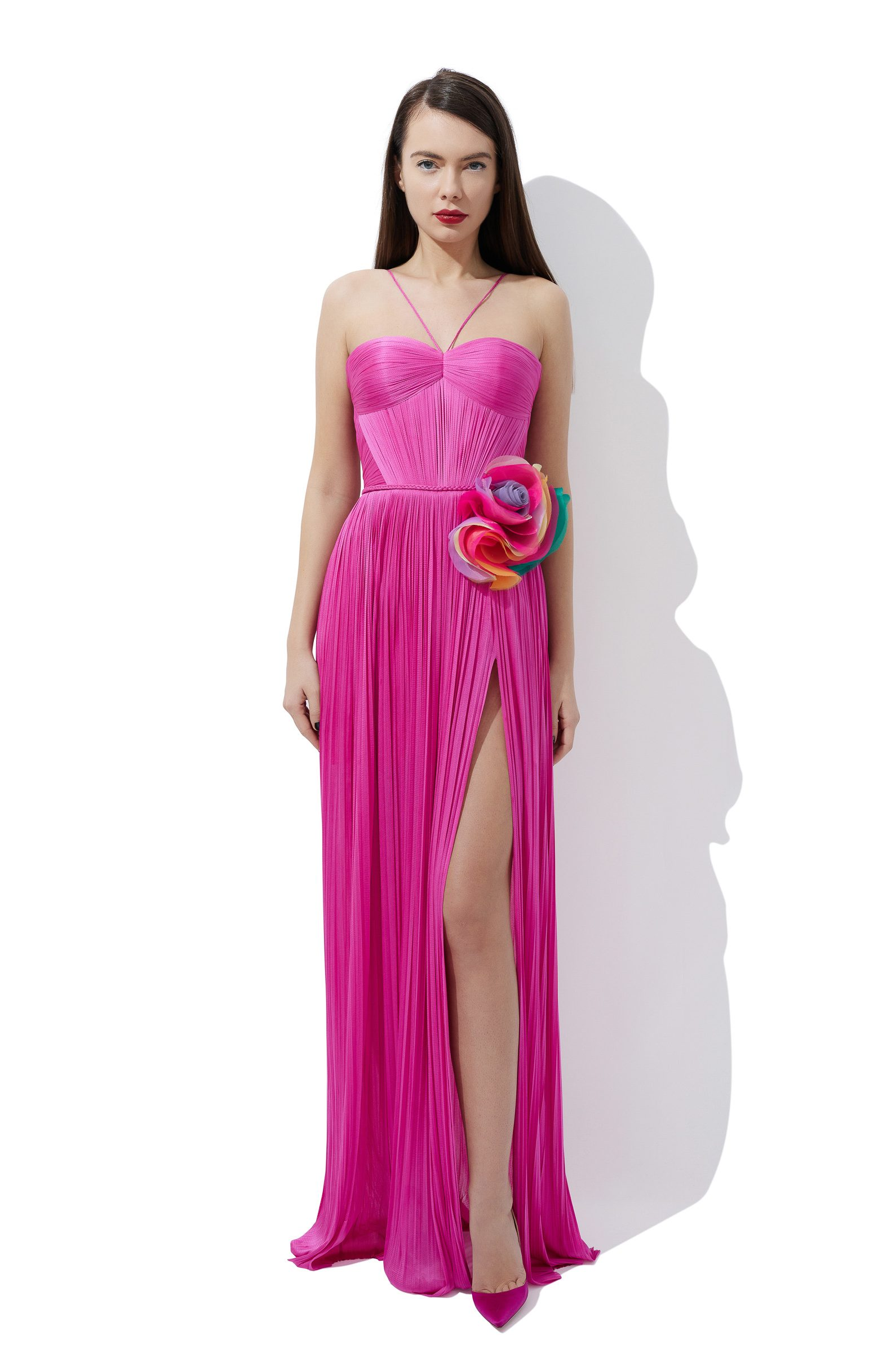 AmelieDraped silk corset gown with ruffled flowers
