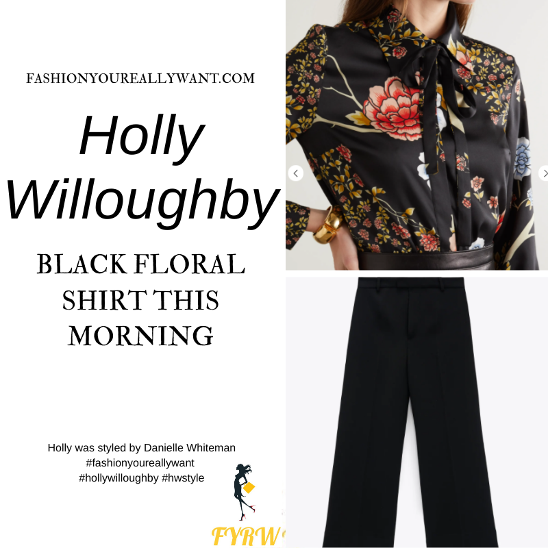 Where to get all Holly Willoughby This Morning outfits blog February 2021 black Japaense floral print shirt black culottes black suede court shoes