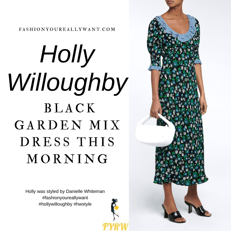 Where to get all Holly Willoughby This Morning outfits blog February 2021 black floral maxi dress with blue trim black suede court shoes