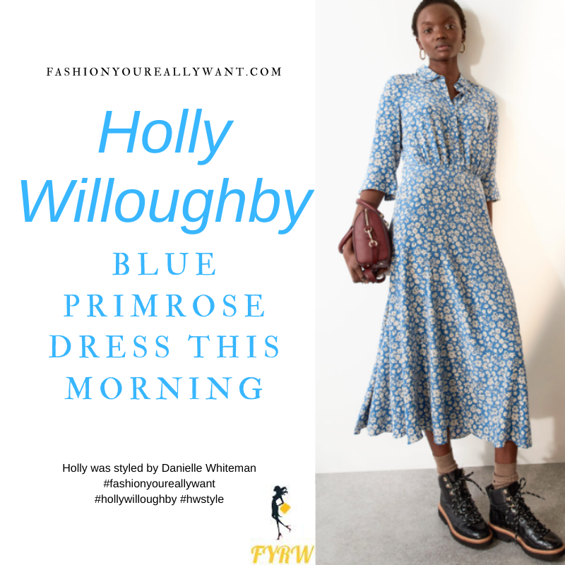 Where to get all Holly Willoughby This Morning outfits blog February 2021 blue floral midi shirt dress nude suede court shoes