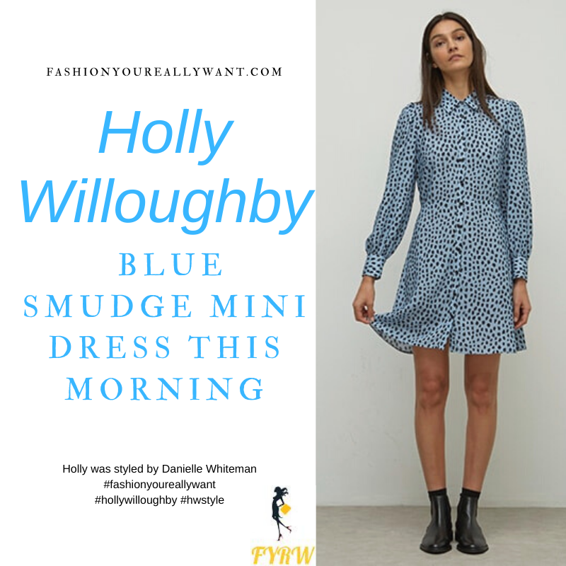 Where to get all Holly Willoughby This Morning outfits blog February 2021 blue black smudge mini shirt dress black ankle boots