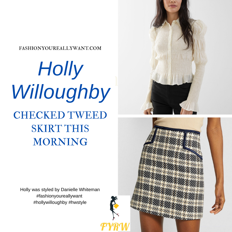 Where to get all Holly Willoughby This Morning outfits blog February 2021 blue cream checked mini skirt cream smocked shirt black suede court shoes