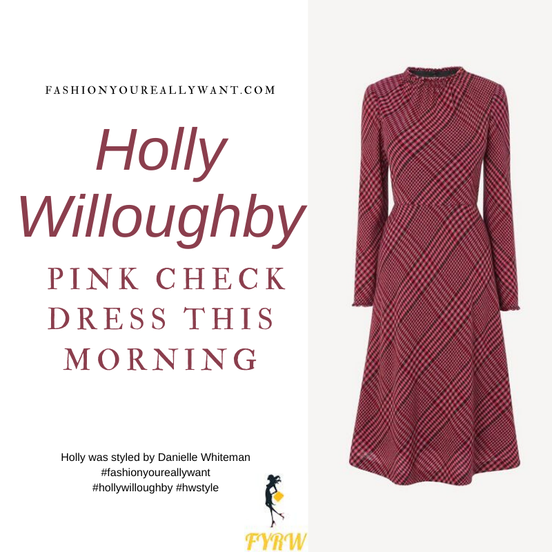 Where to get all Holly Willoughby This Morning outfits blog February 2021 pink check midi dress nude suede court shoes