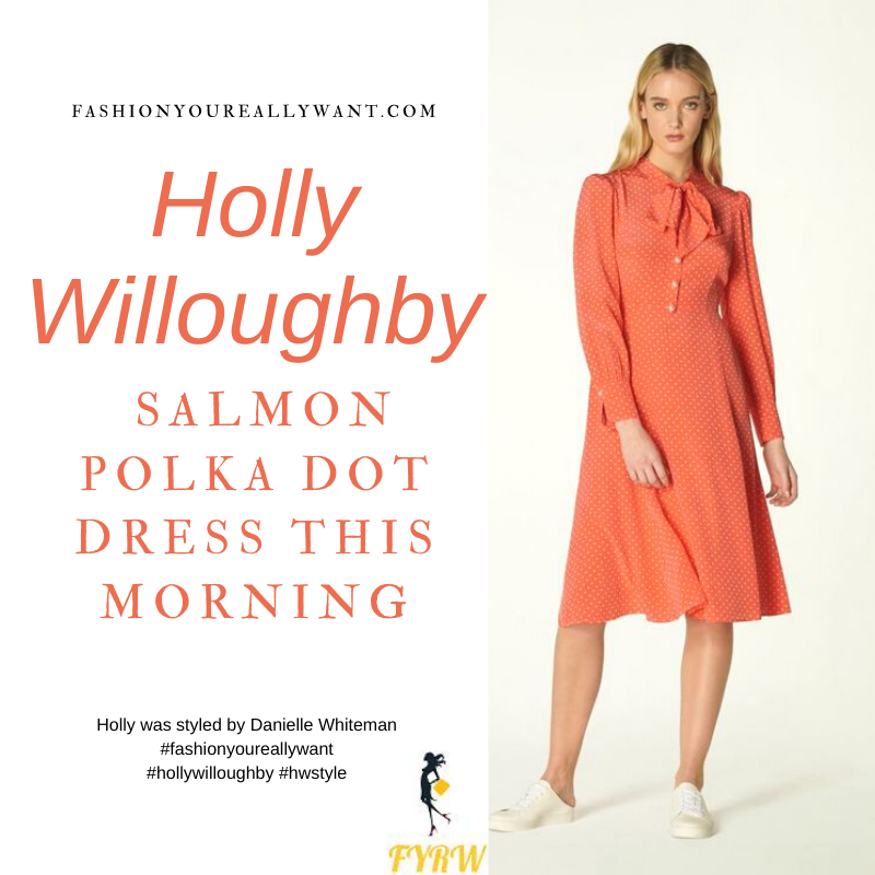 Where to get all Holly Willoughby This Morning outfits blog February 2021 orange salmon pink polka dot shirt dress nude suede court shoes
