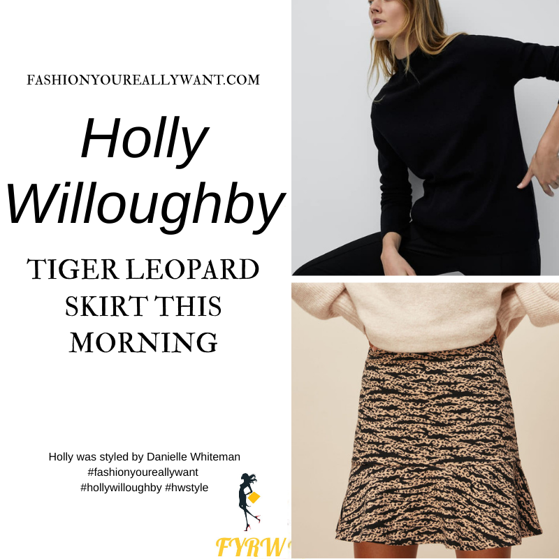 Where to get all Holly Willoughby This Morning outfits blog February 2021 tiger leopard mini skirt black polo neck knit black suede court shoes