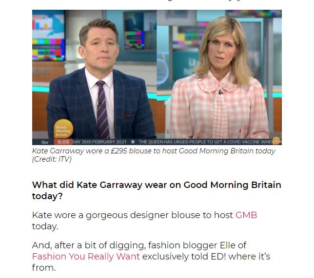 Kate Garraway pink gingham blouse 26 February 2021