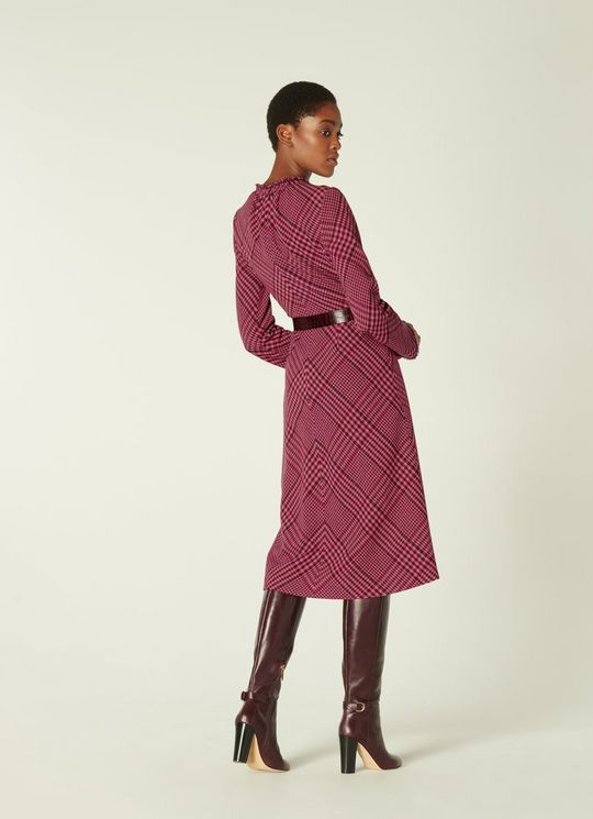 LK Bennett Katie Pink & Burgundy Check Wool Blend Midi Dress back view