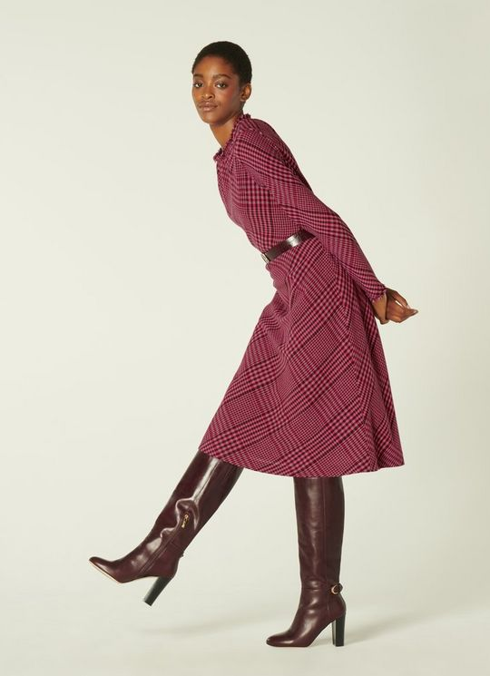 LK Bennett Katie Pink & Burgundy Check Wool Blend Midi Dress