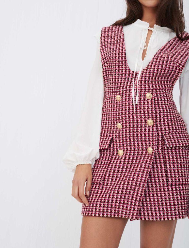 Maje Trompe Loeil Tweed Dress