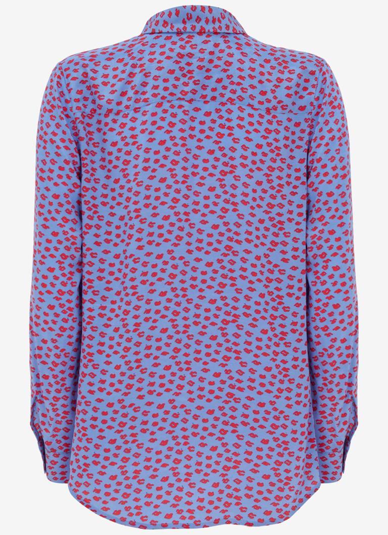 Mint Velvet Lilac Poppy Lips Print Shirt back view