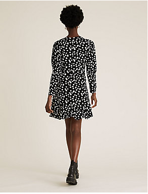 M&S Ditsy Floral Puff Sleeve Mini Tea Dress back view