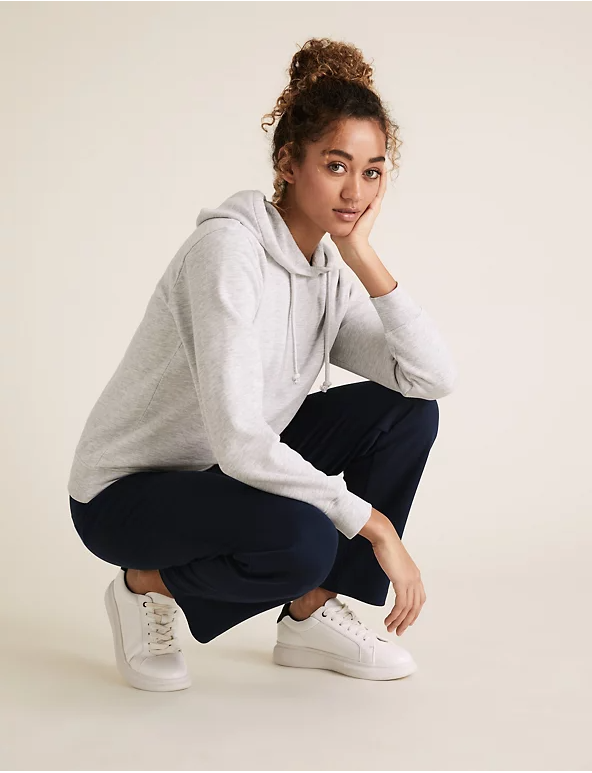 M&S Grey Cotton Long Sleeve Hoodie
