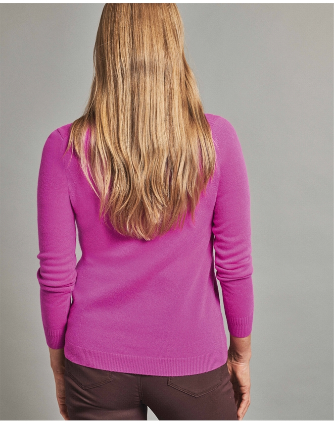 Pure Collection Cashmere Straight Fit V Neck Sweater back view
