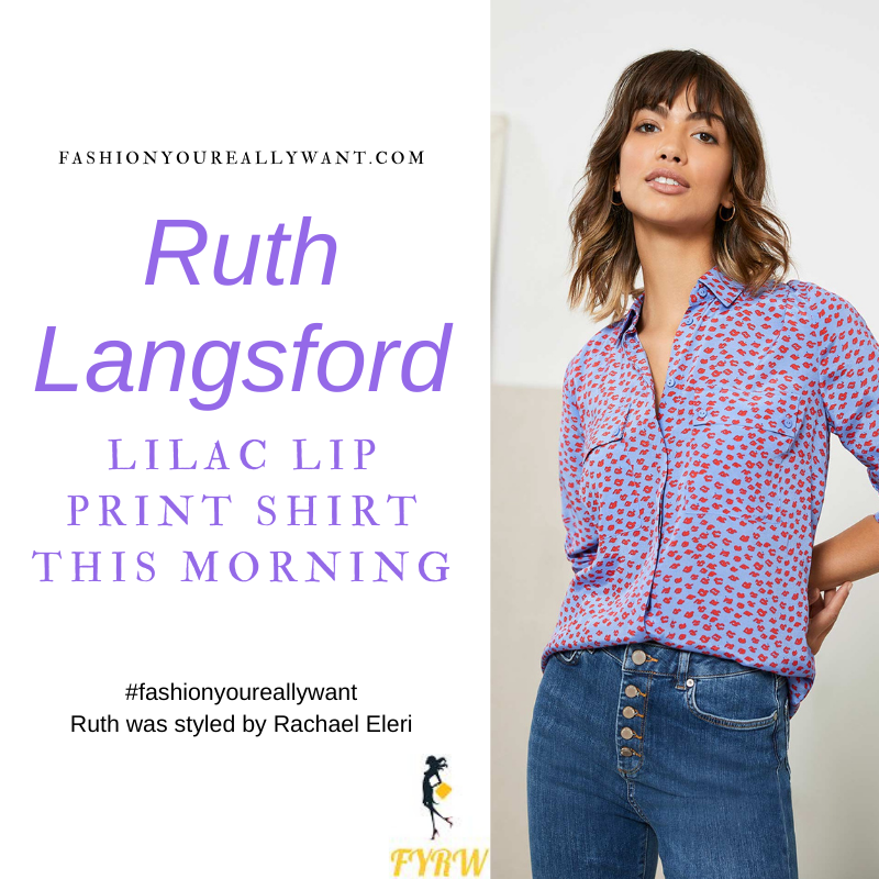 Where to get all Ruth Langsford This Morning outfits blog February 2021 lilac red lip print shirt black trousers black patent court shoes