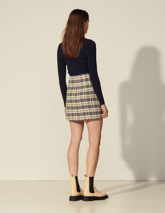 Sandro Paris Checked Tweed Skirt back view