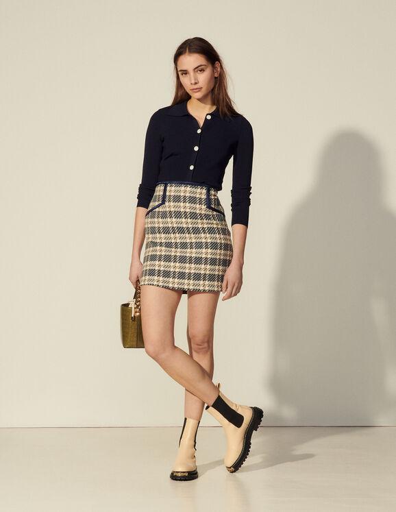 Sandro Paris Checked Tweed Skirt