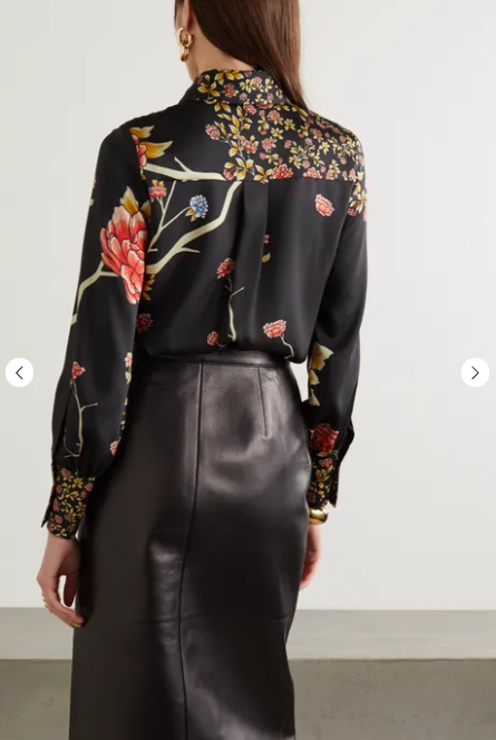 Victoria Beckham Pussy-bow Floral Print Twill Shirt back view