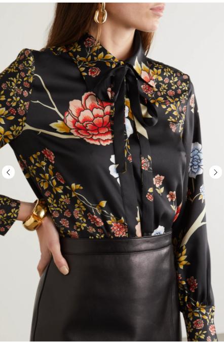 Victoria Beckham Pussy-bow Floral Print Twill Shirt