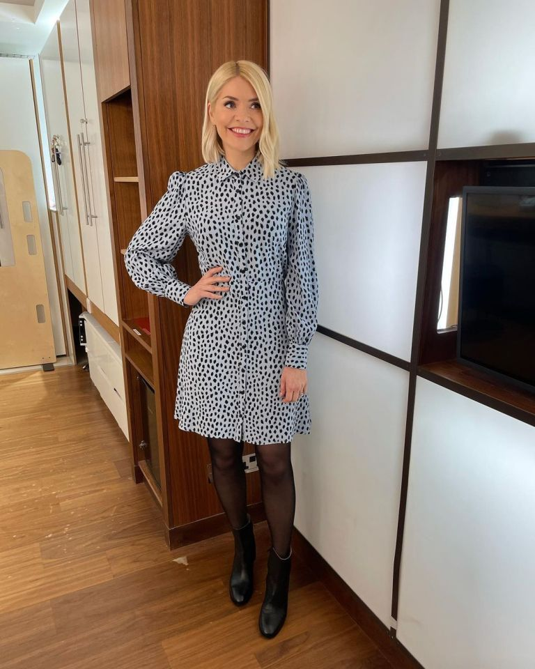 where to get all Holly Willoughby This Morning dresses blue black smudge mini shirt dress black ankle boots 22 February 2021 Photo Holly Willoughby