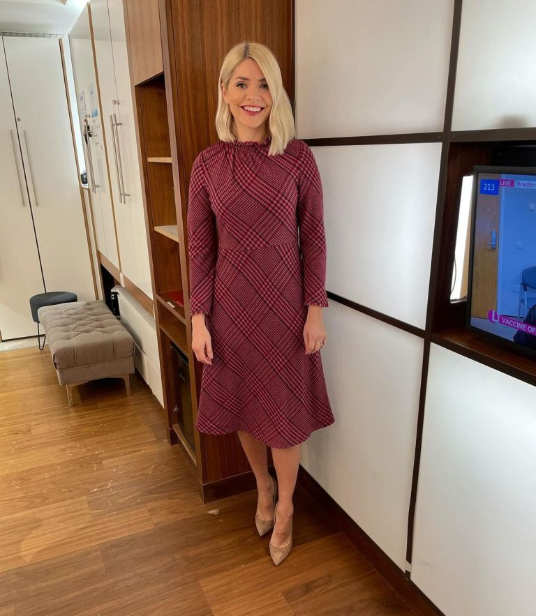 where to get all Holly Willoughby This Morning dresses pink check dress nude suede court shoes 1 February 2021 Photo Holly Willoughby
