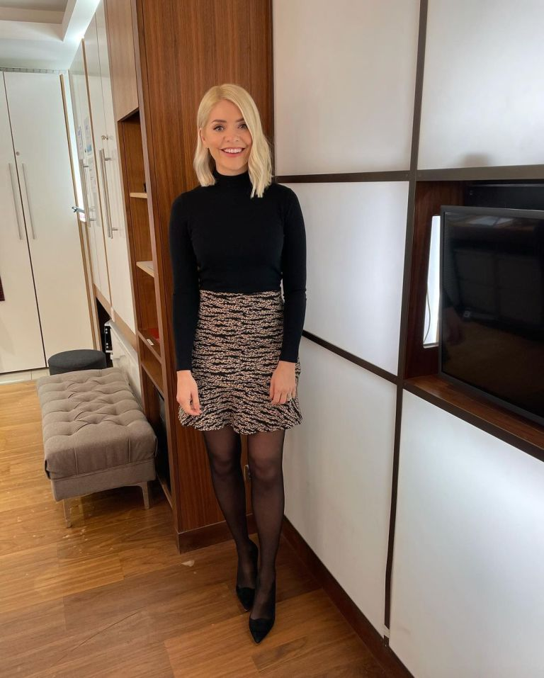 where to get all holly Willoughby This Morning outfits black polo neck knit tiger leopard mini skirt black suede court shoes 3 February 2021 Photo Holly Willoughby