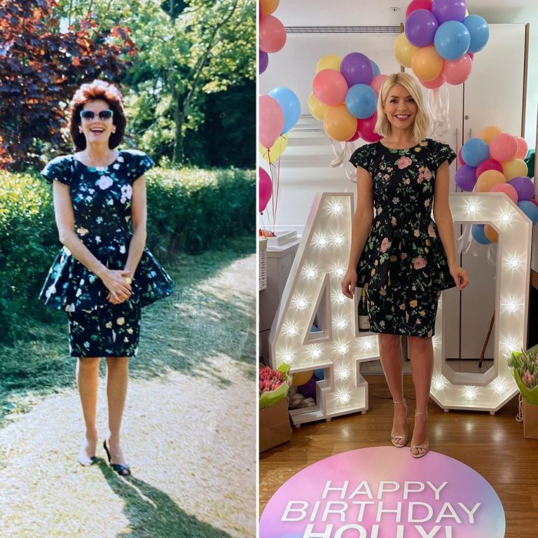 where to get Holly Willoughby This Morning dresses black floral dress nude sandals 10 February 2021 Photo Holly Willoughby with her mum