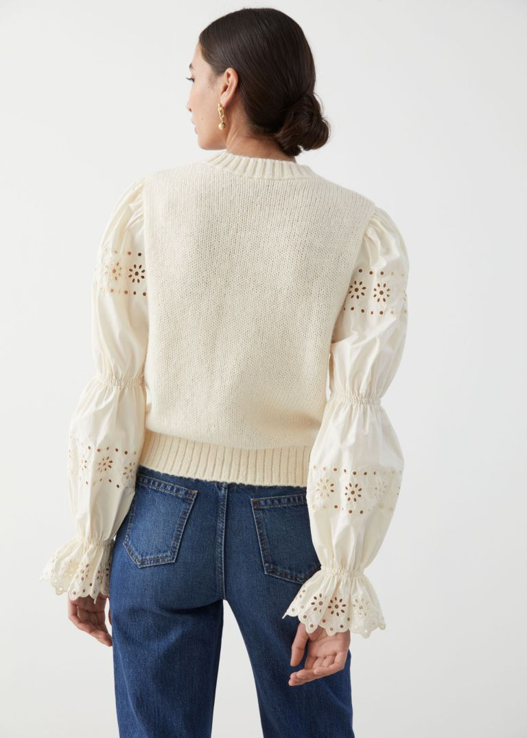 And Other Stories Embroidered Puff Sleeve Sweater back view