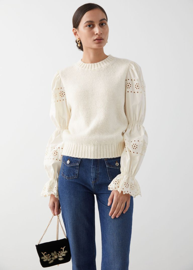 And Other Stories Embroidered Puff Sleeve Sweater