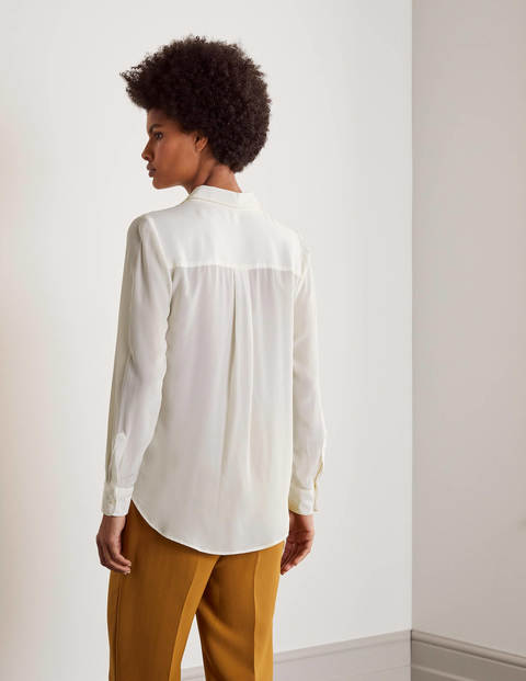 Boden The Silk Shirt Ivory back view