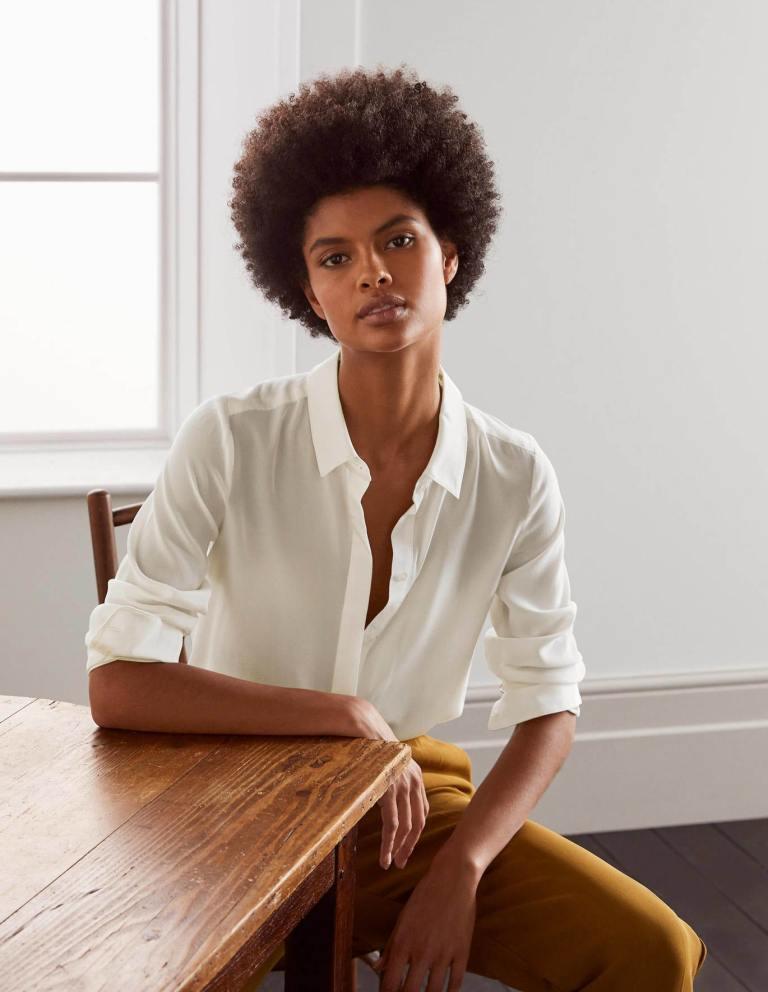 Boden The Silk Shirt Ivory