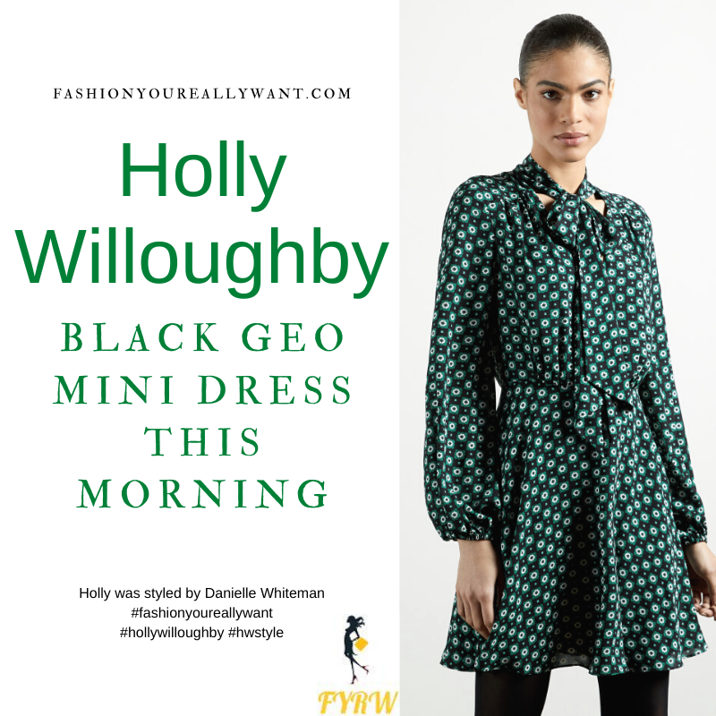 Where to get all Holly Willoughby This Morning outfits blog March 2021 black green white geometric print long sleeve mini dress tie neck black court shoes