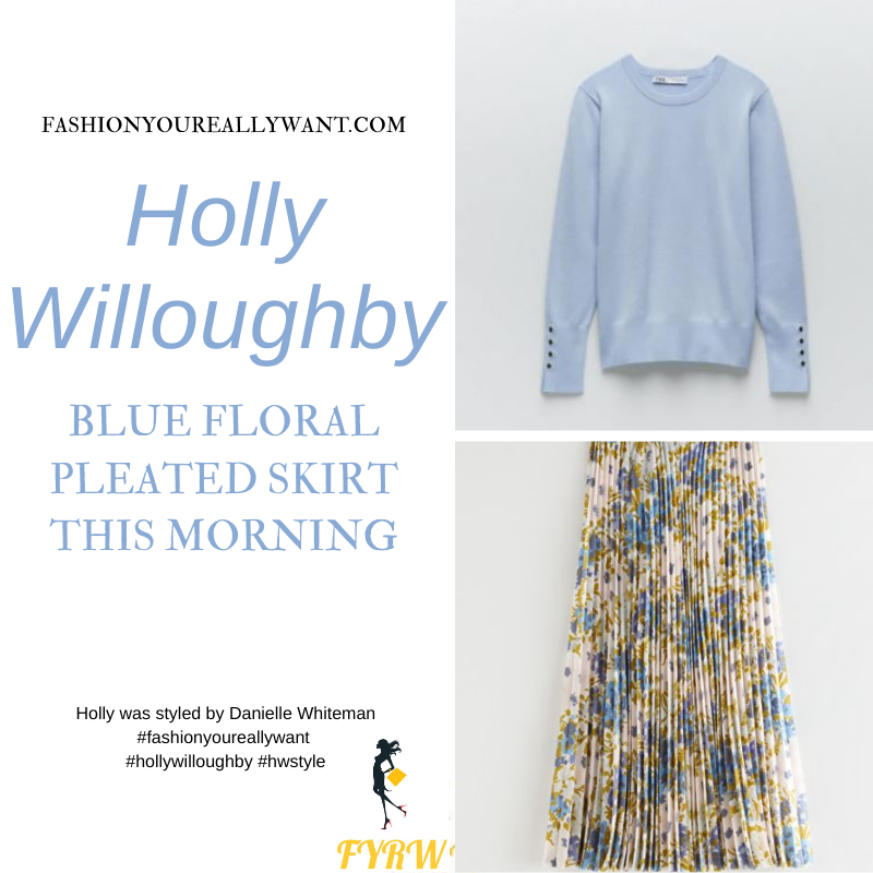 Where to get all Holly Willoughby This Morning outfits blog March 2021 blue floral pleated skirt light blue knit nude suede court shoes
