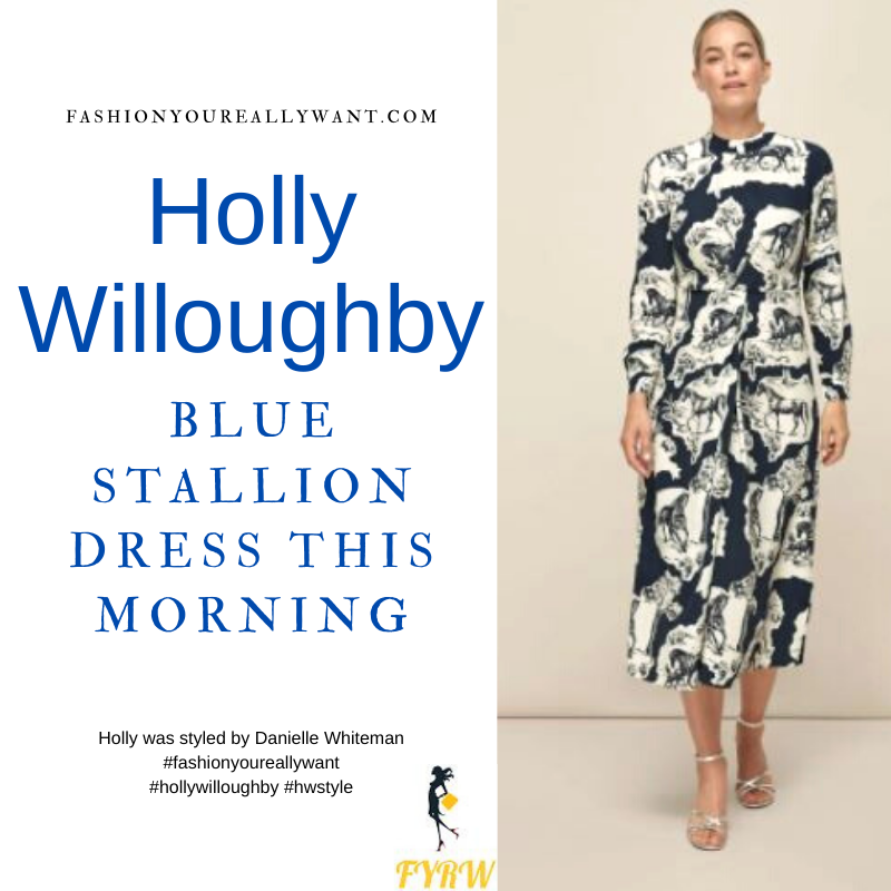 Where to get all Holly Willoughby This Morning outfits blog March 2021 blue and white horse stallion print dress suede court shoes