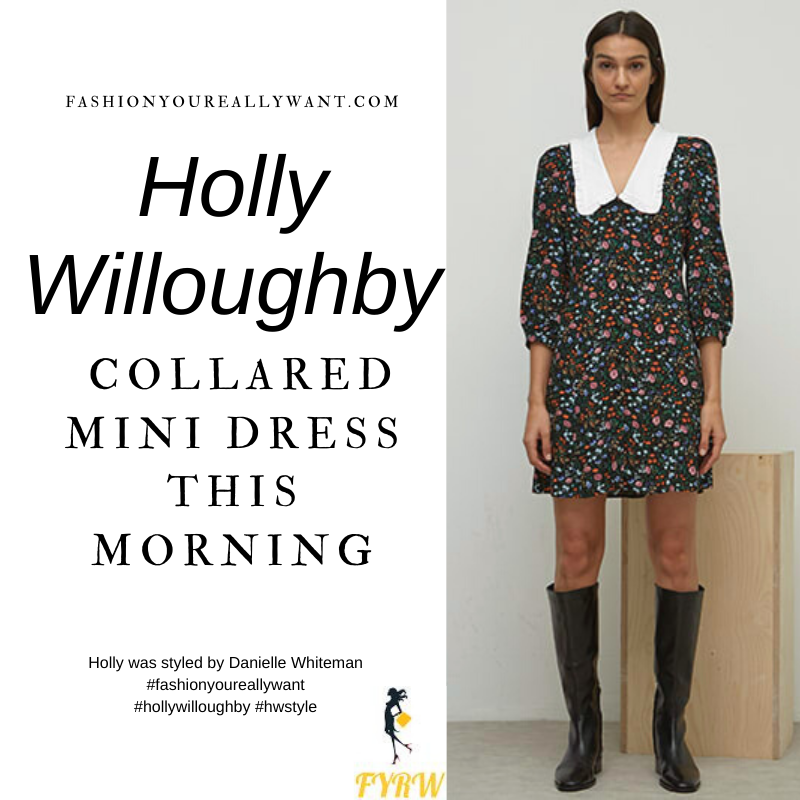 Where to get all Holly Willoughby This Morning outfits blog March 2021 black ditsy floral mini dress white collar black court shoes