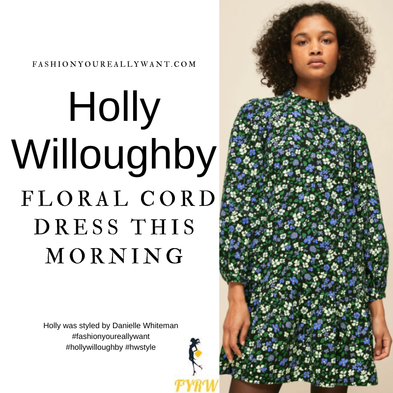 Where to get all Holly Willoughby This Morning outfits blog March 2021 black floral corduroy frill hem mini dress black shoes