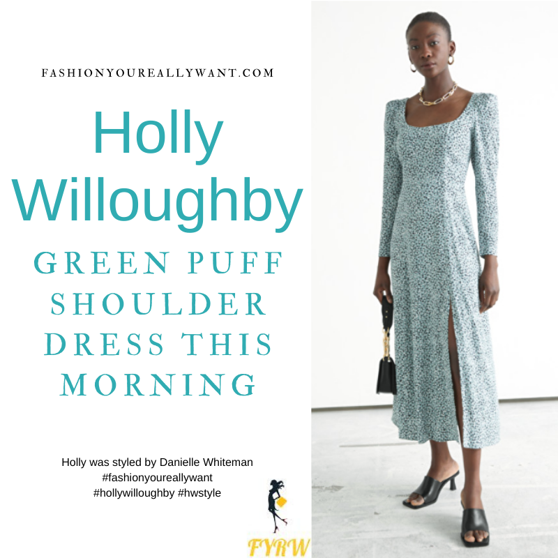 Where to get all Holly Willoughby This Morning outfits blog March 2021 green scoop neck puff sleeve midi dress nude suede court shoes