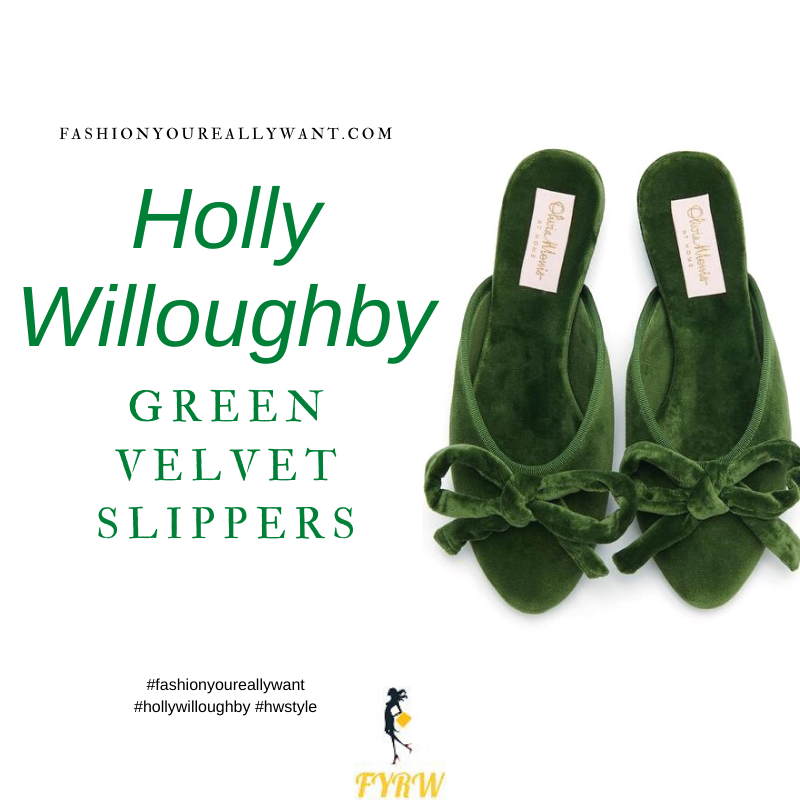 Where to get all Holly Willoughby outfits blog March 2021 green velvet slippers with bow