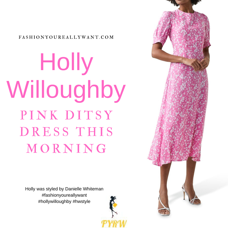 Where to get all Holly Willoughby This Morning outfits blog March 2021 pink and white floral midi dress nude suede court shoes