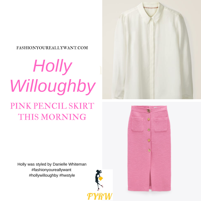 Where to get all Holly Willoughby This Morning outfits blog March 2021 pink pencil skirt with gold buttons ivory shirt nude suede court shoes