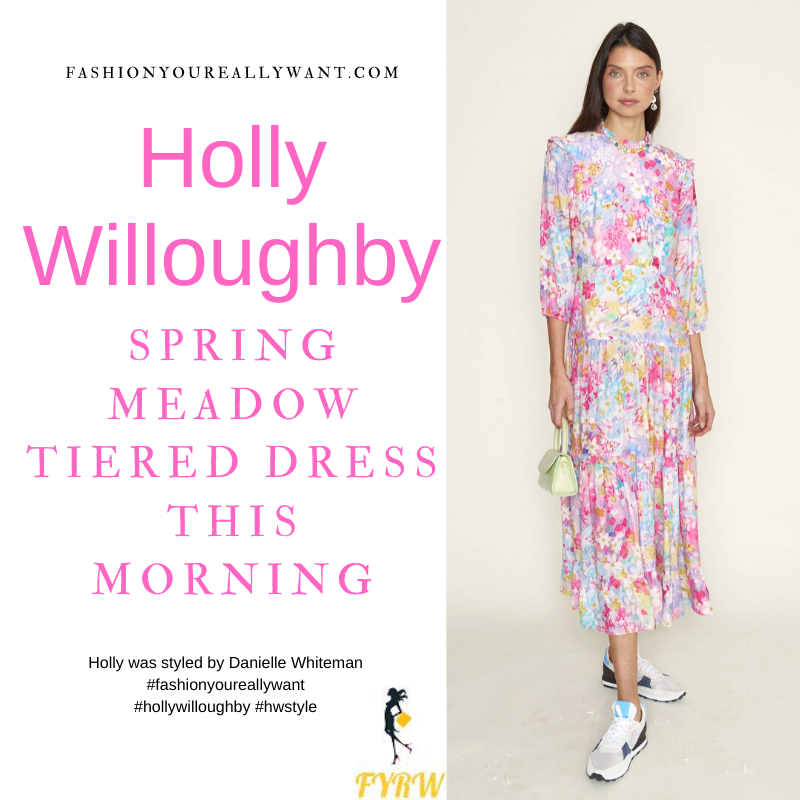 Where to get all Holly Willoughby This Morning outfits blog March 2021 bright floral tiered midaxi dress nude suede court shoes