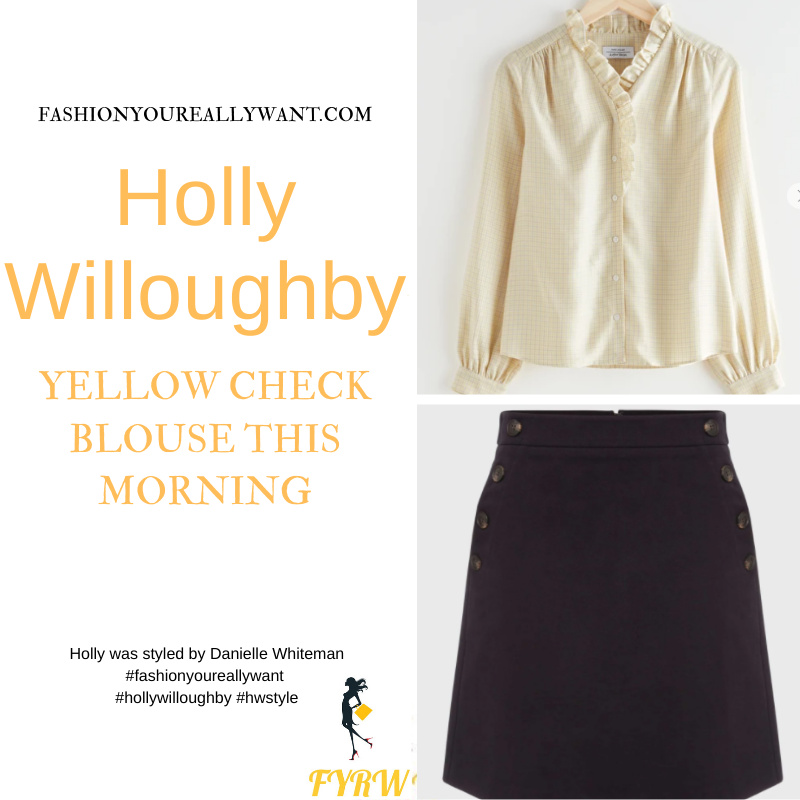 Where to get all Holly Willoughby This Morning outfits blog March 2021 yellow check ruffle blouse navy side button mini skirt suede court shoes