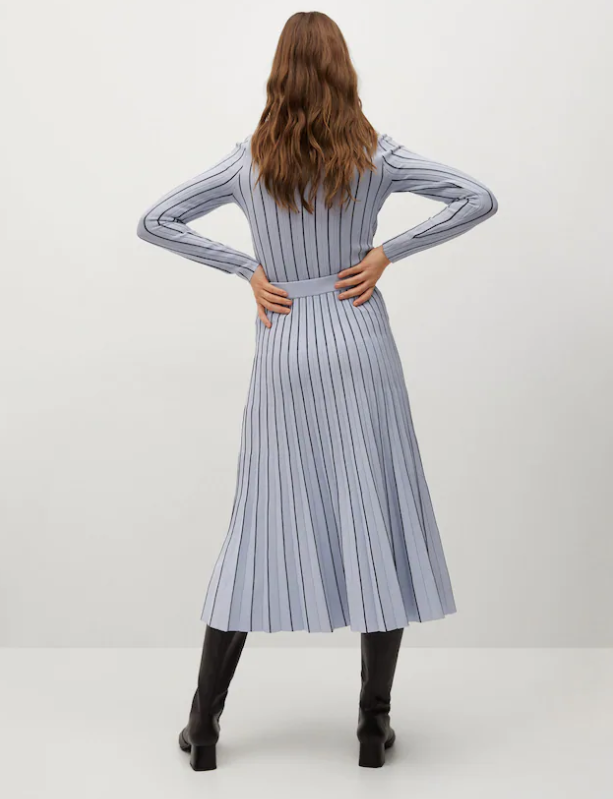 Mango Stripes Pleated Skirt back view