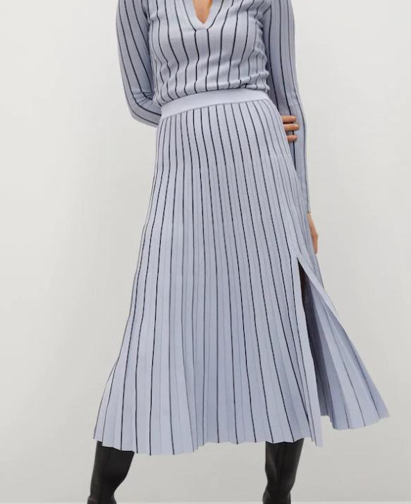 Mngo Stripes Pleated Skirt