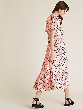 M&S Polka Dot Short Sleeve Midi Wrap Dress back view