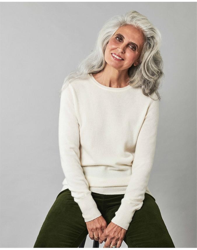 Pure Collection Cashmere Crew Neck Sweater Soft White