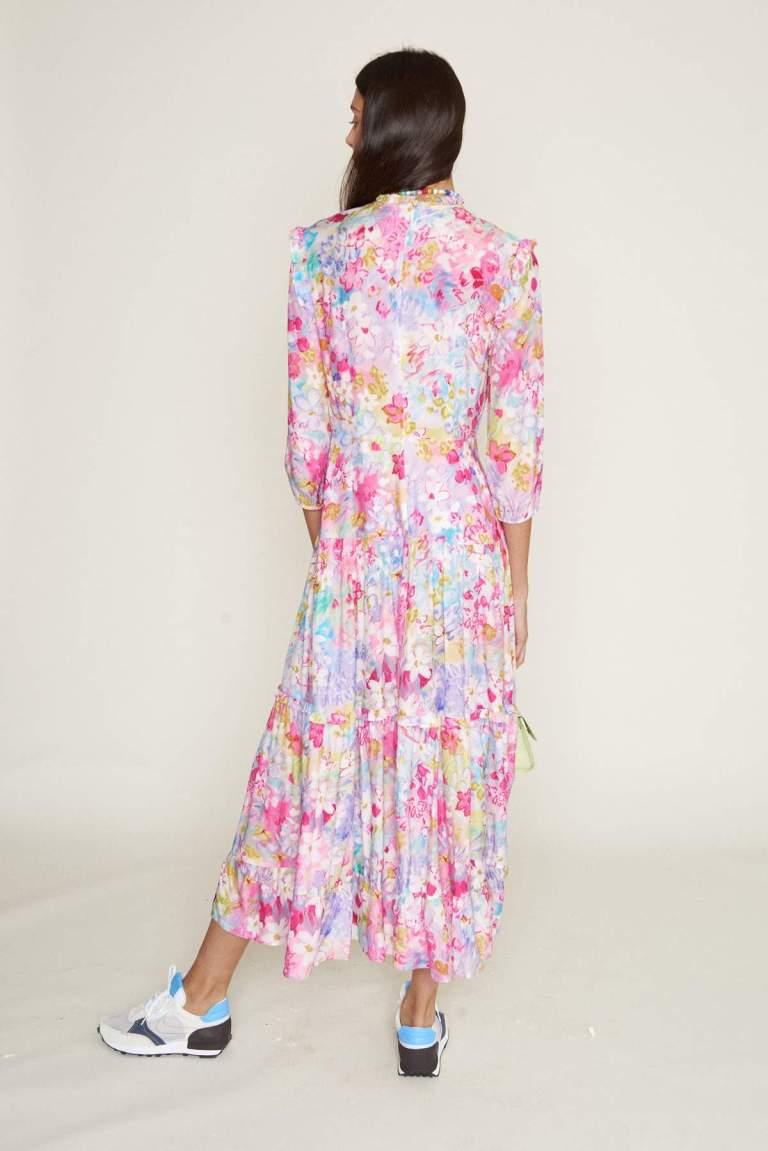 RIXO Monet Spring Meadow Dress back view