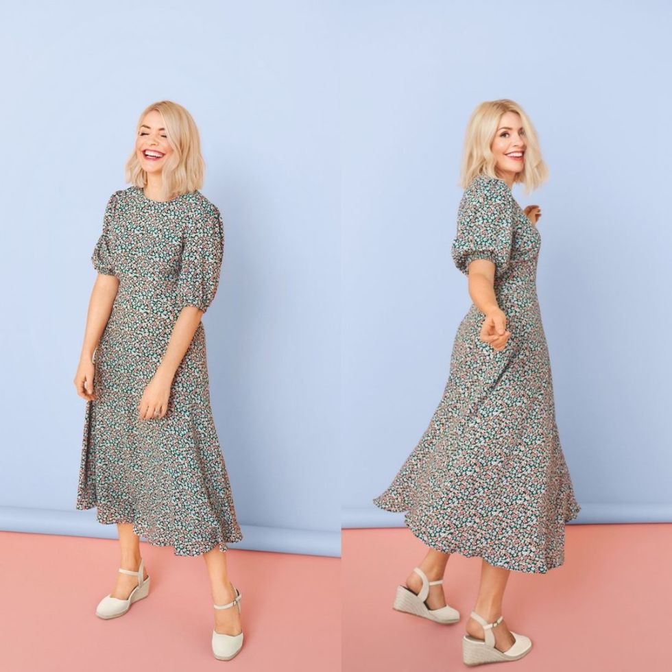 where to get all Holly Willougby dresses floral puff sleeve midaxi dress white espadrilles 19 March 2021 Photo M&S