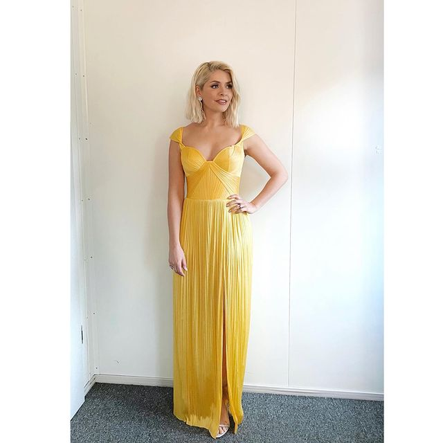 where to get all holly willoughby Dancing on Ice dresses yellow ruched pleated split gown 7 March 2021 Photo holly willoughby