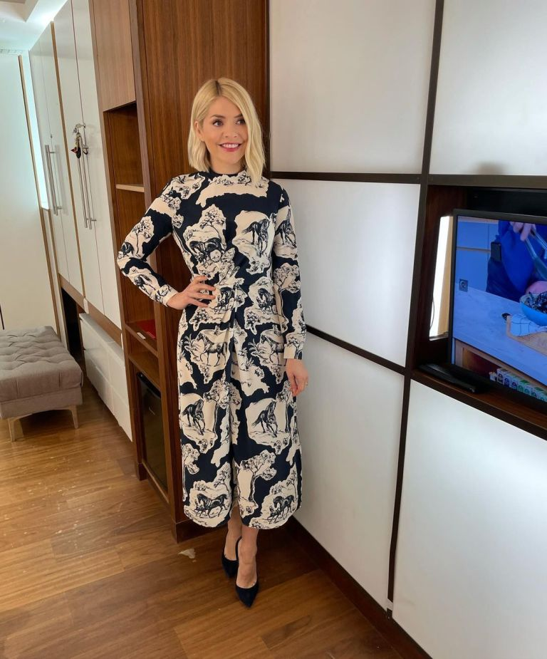 where to get all Holly Willoughby This Morning dresses blue horse stallion print dress suede court shoes 22 March 2021 Photo Holly Willoughby